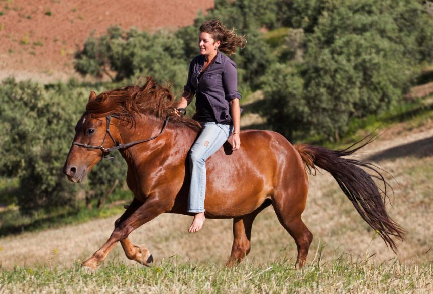 Galloping bitless and barefoot