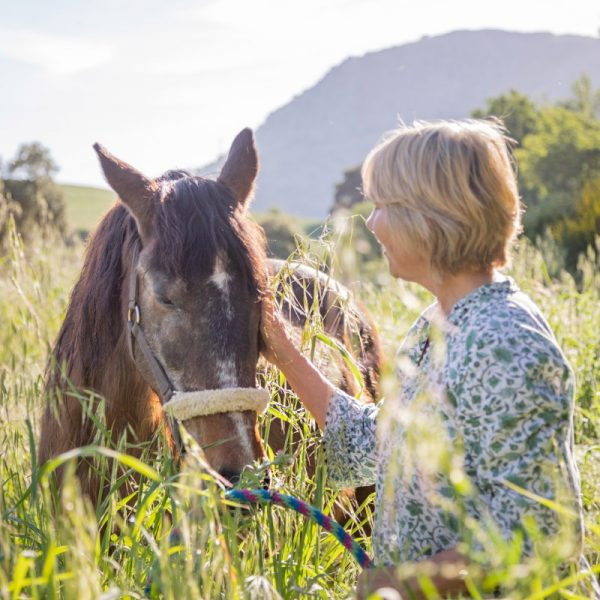 Horse and woman in tall grass Spain